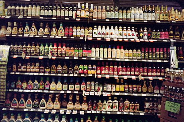 salad dressing, supermarket, yashica t, porta 400vc, juuuuicy, olivejuuuuice
