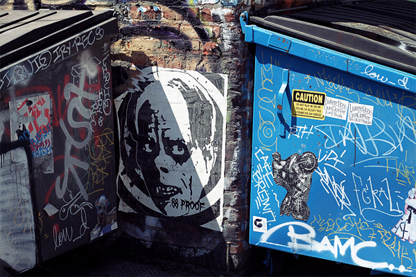 dumpster, street art, los angeles, wheat paste