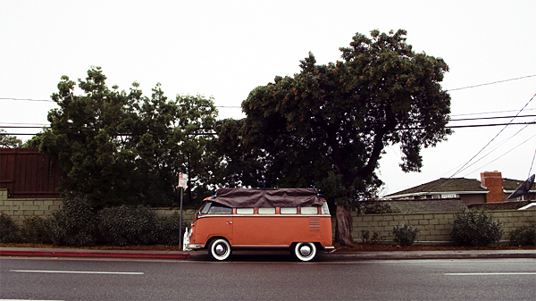 van, volkswagen, orange, rain, street, tree, juuuuicy