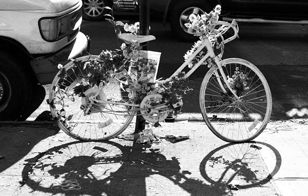 ghost bike, new york city, shadow, flowers, streets,